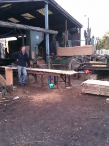 Day in november at the saw mills cutting oak boards